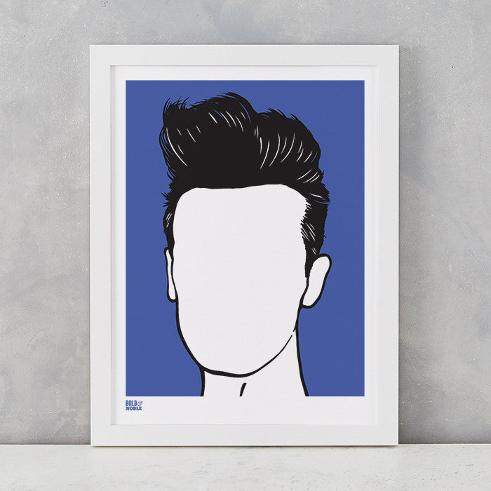 Morrissey screen print in Blue, on recycled card, delivered worldwide