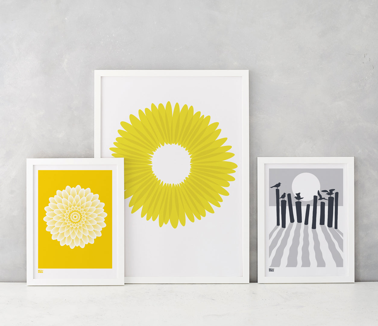 Wall Art where to start: Dahlia Waterlily, Daisy and On the Beach screen prints