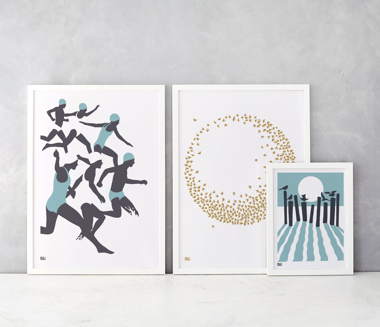 Wall Art where to start: Swimmers, Flocking Birds and On the Beach screen prints