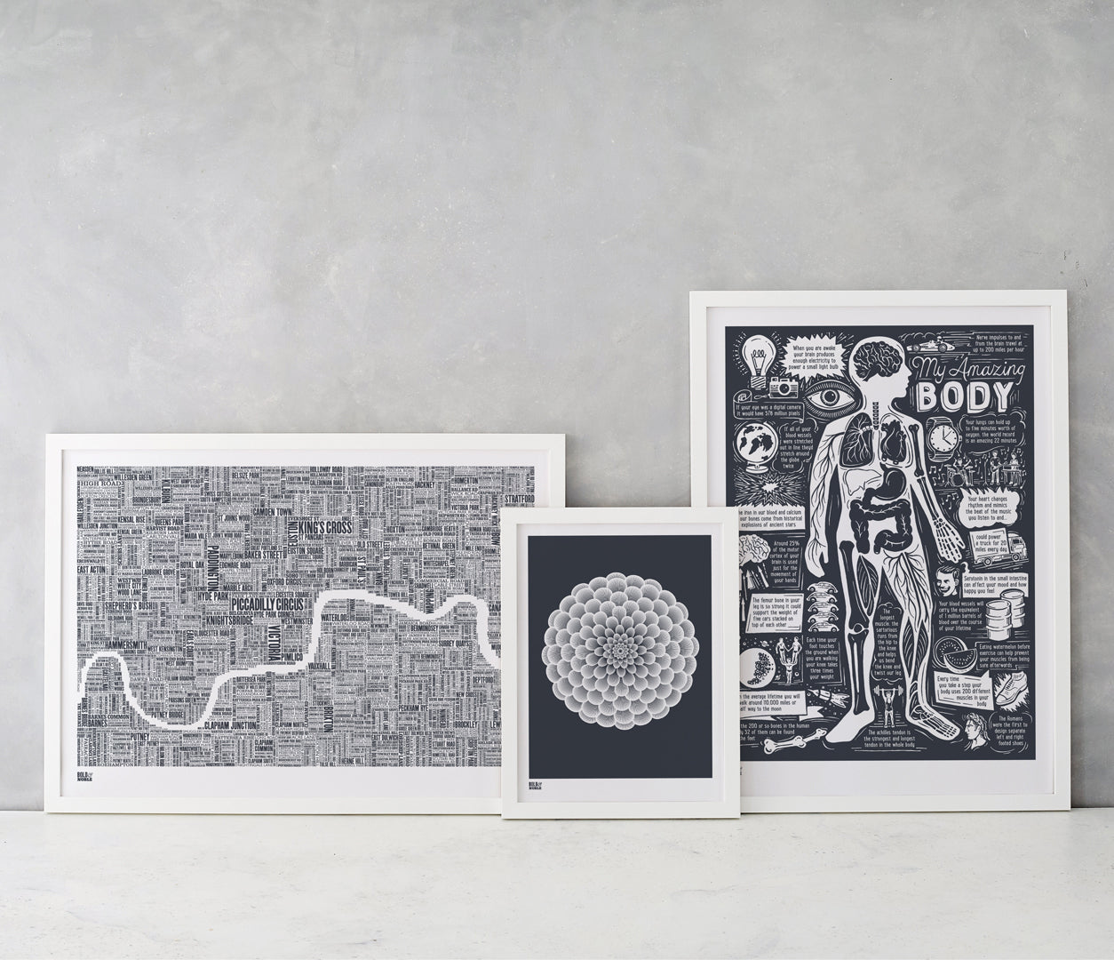 Wall Art where to start: London Type Map, Dahlia Pompon and My Amazing Body screen prints all in sheer slate