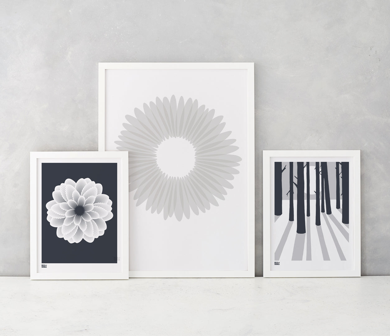 Dahlia Peony screen print in sheer slate, Daisy in warm grey, In the Woods in grey, recycled card, delivered worldwide
