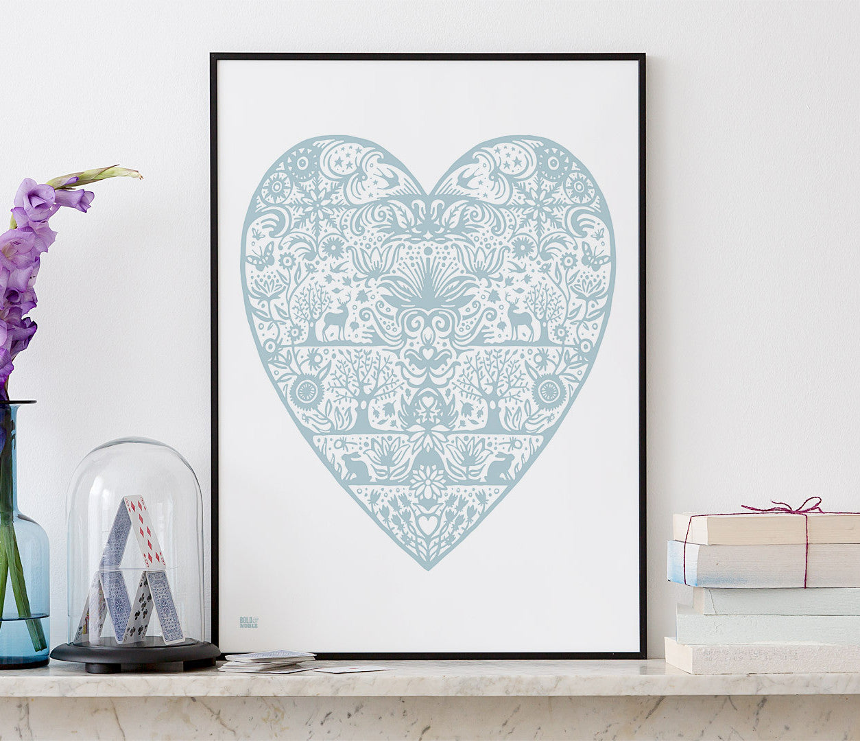 Wall Art ideas: Economical Screen Prints, My Heart Print in Duck Egg Blue
