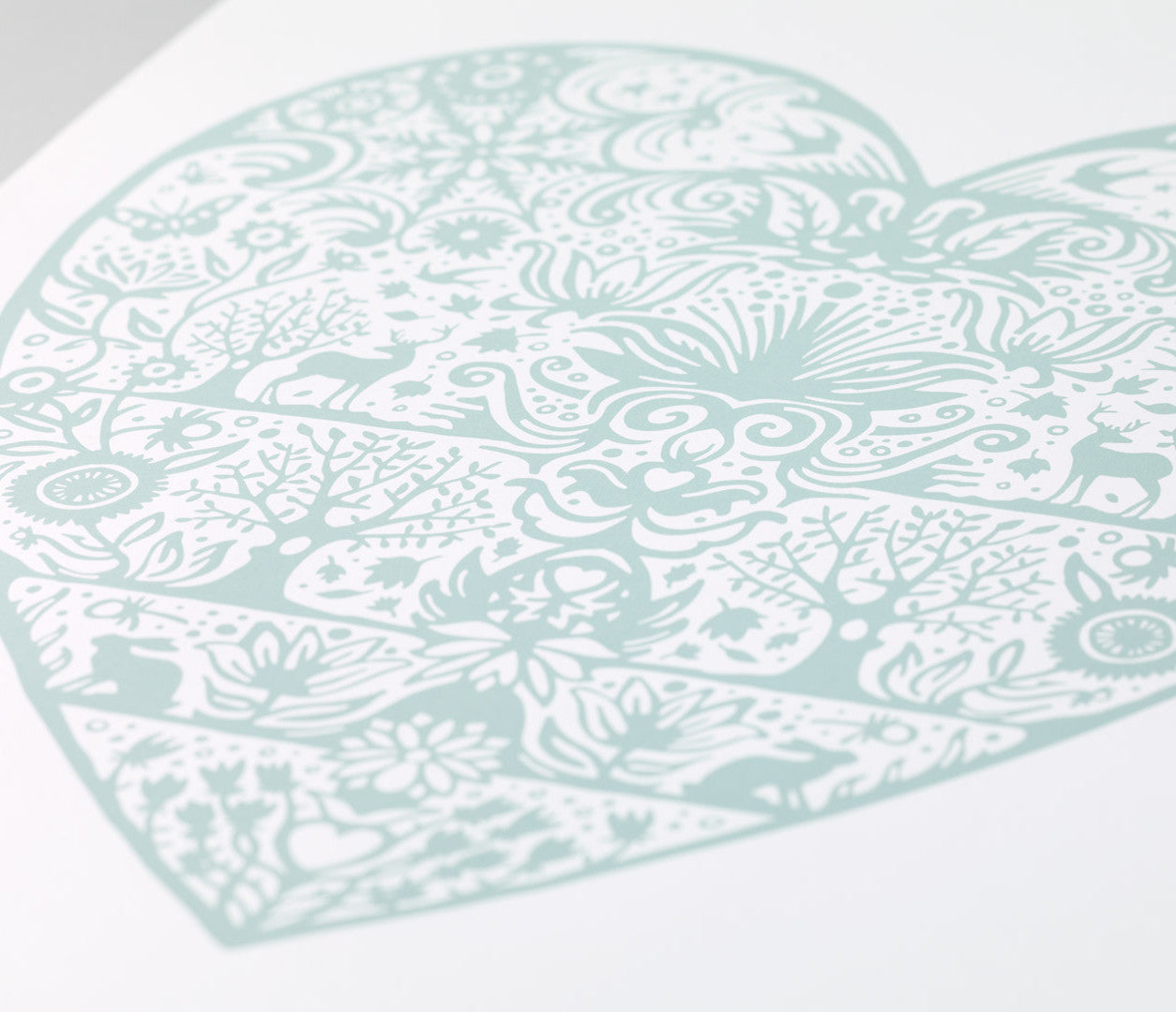 Close Up of My Heart Print in Duck Egg Blue