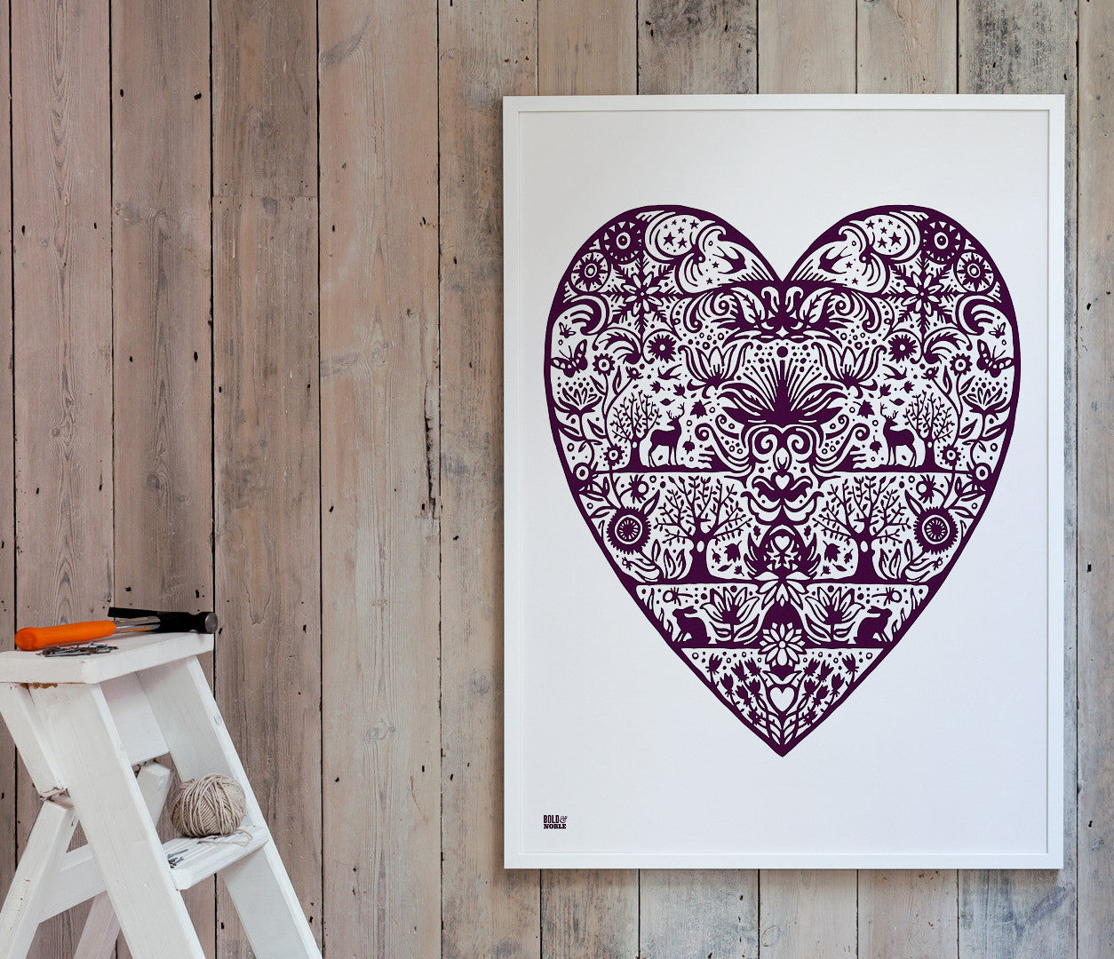 Wall Art ideas: Economical Screen Prints, My Heart in Dark Mulberry