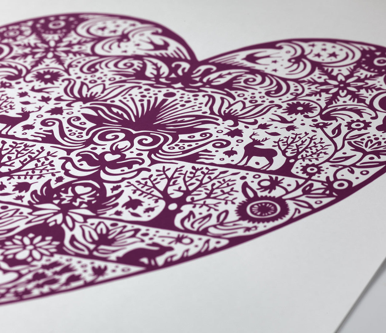 Close Up of My Heart Print in Dark Mulberry
