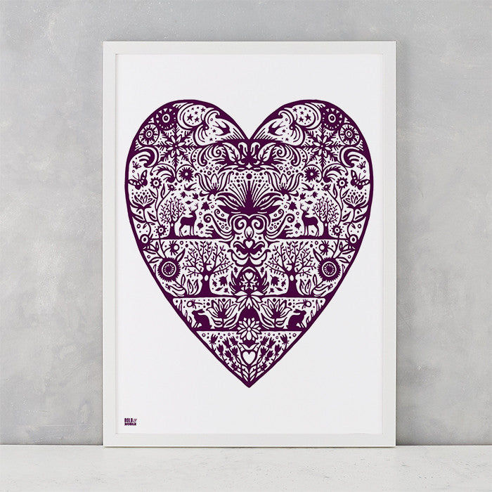 My Heart Print in Dark Mulberry, screen printed on recycled card, deliver worldwide