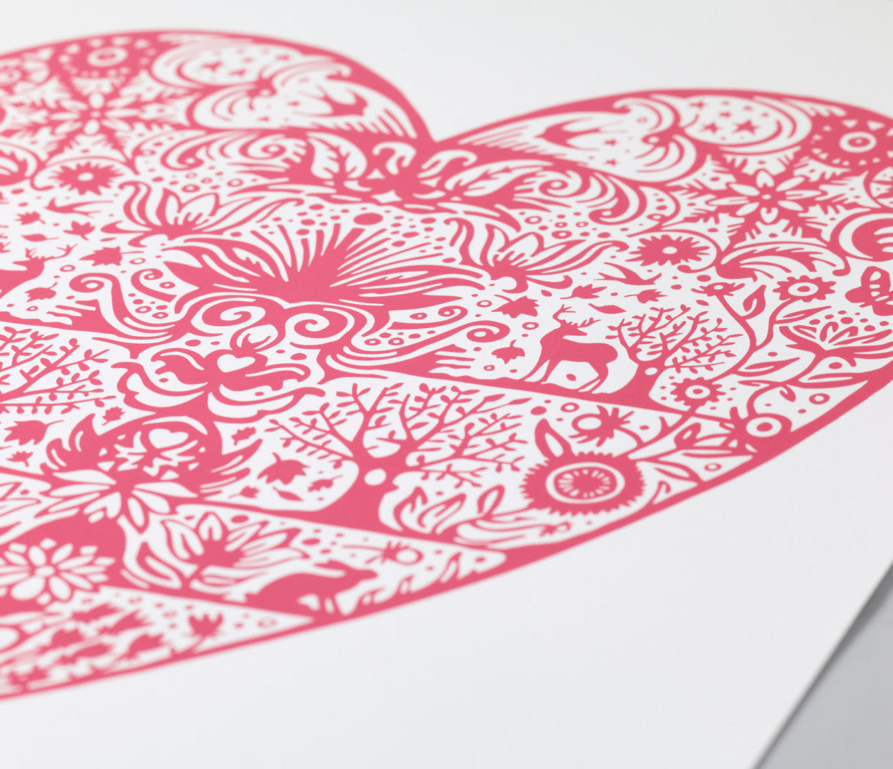 'My Heart' Love Print in Raspberry Sorbet