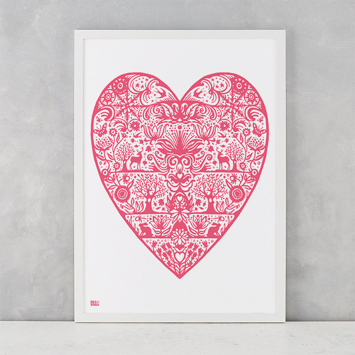 My Heart Print in Raspberry Pink, screen printed on recycled card, deliver worldwide
