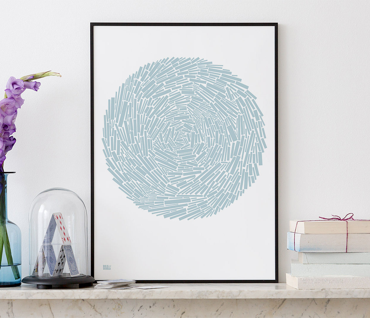'Nest' Abstract Art Print in Duck Egg Blue