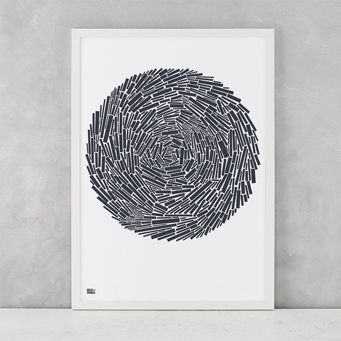 Nest Print in Sheer Slate, screen printed on recycled paper, delivered worldwide