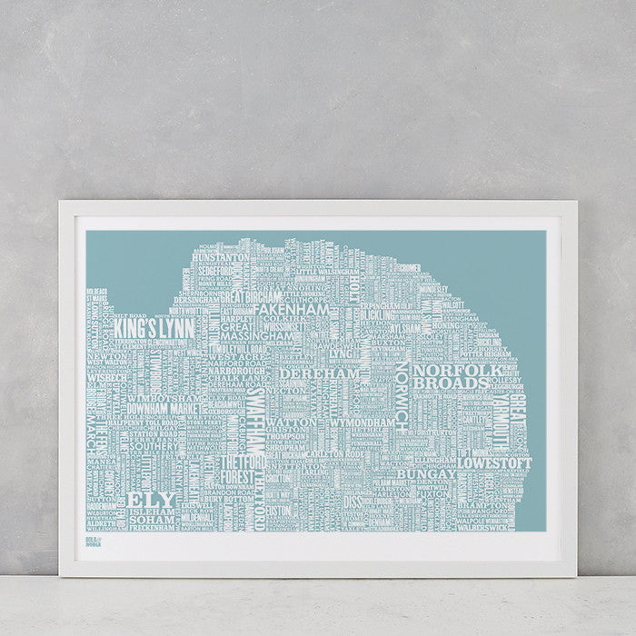 Norfolk Type Map in Coastal Blue, screen printed onto recycled card, deliver worldwide