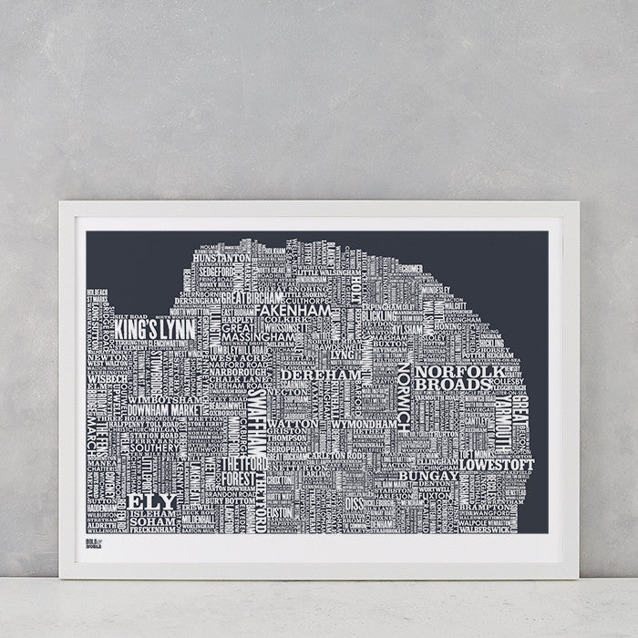 Norfolk Type Map in Slate Dark Grey, screen printed onto recycled card, deliver worldwide