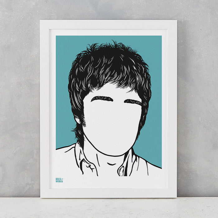 Noel Gallagher Screen Print in blue, screen printed on recycled paper, deliver worldwide