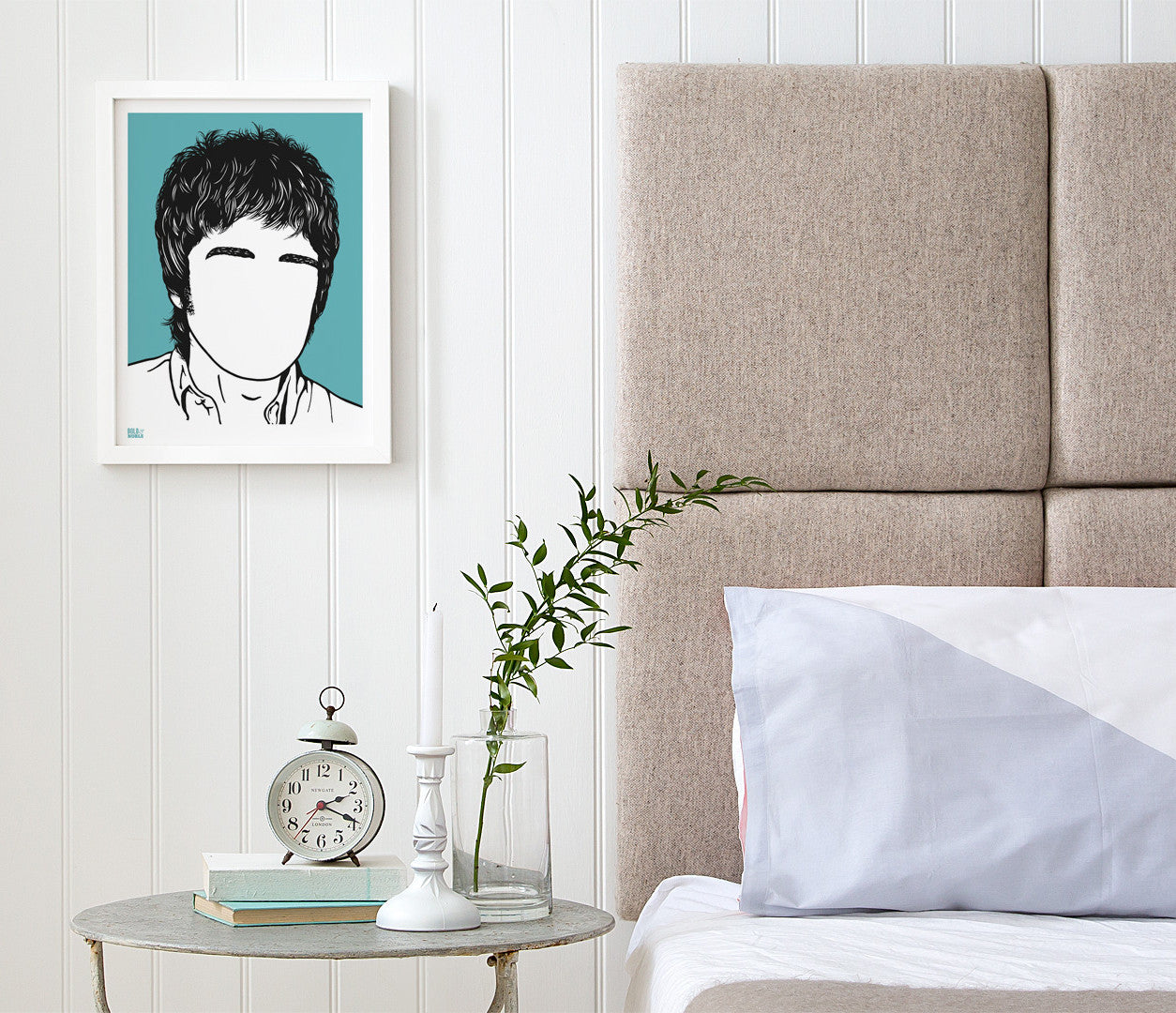 Pictures and Wall Art, Screen Printed Noel Gallagher Print in blue
