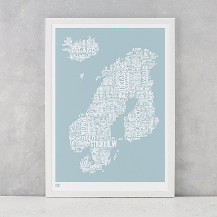 'Nordic Europe' Type Map Print in Duck Egg Blue