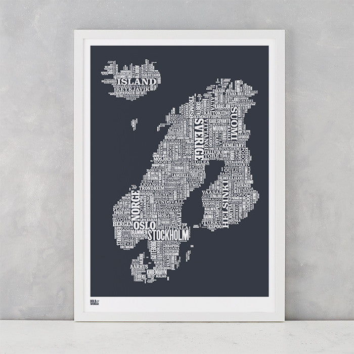 'Nordic Europe' Type Map Print in Sheer Slate