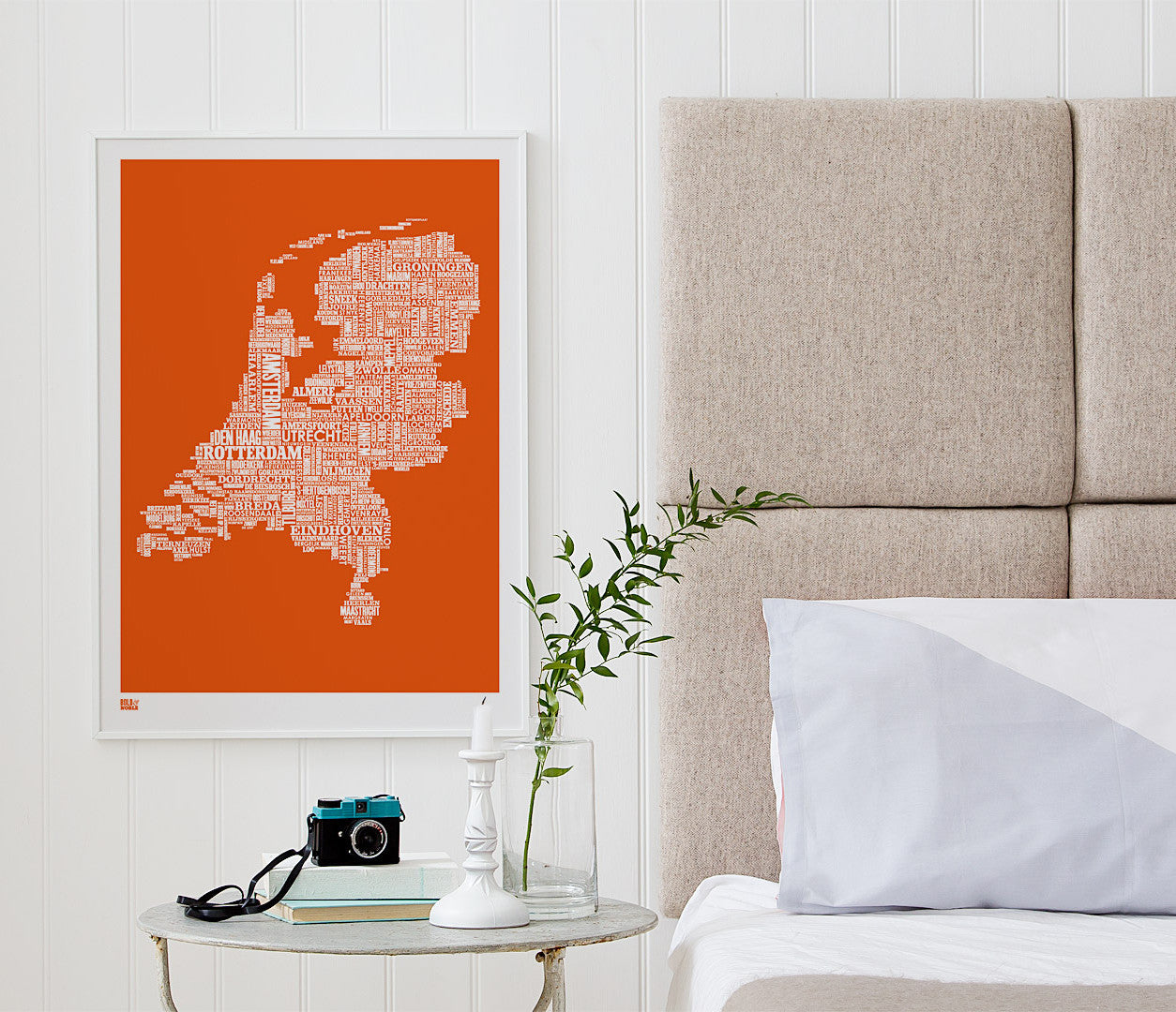 Wall Art ideas: Economical Screen Prints, Netherlands Type Map Print in Pumpkin Orange