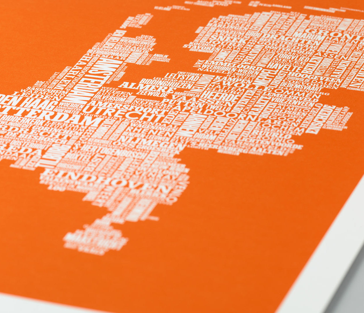 Close Up of Netherlands Type Map Print in Pumpkin Orange