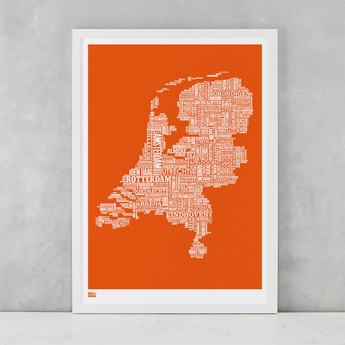 Netherlands Type Map in Pumpkin Orange, screen printed on recycled card, delivered worldwide