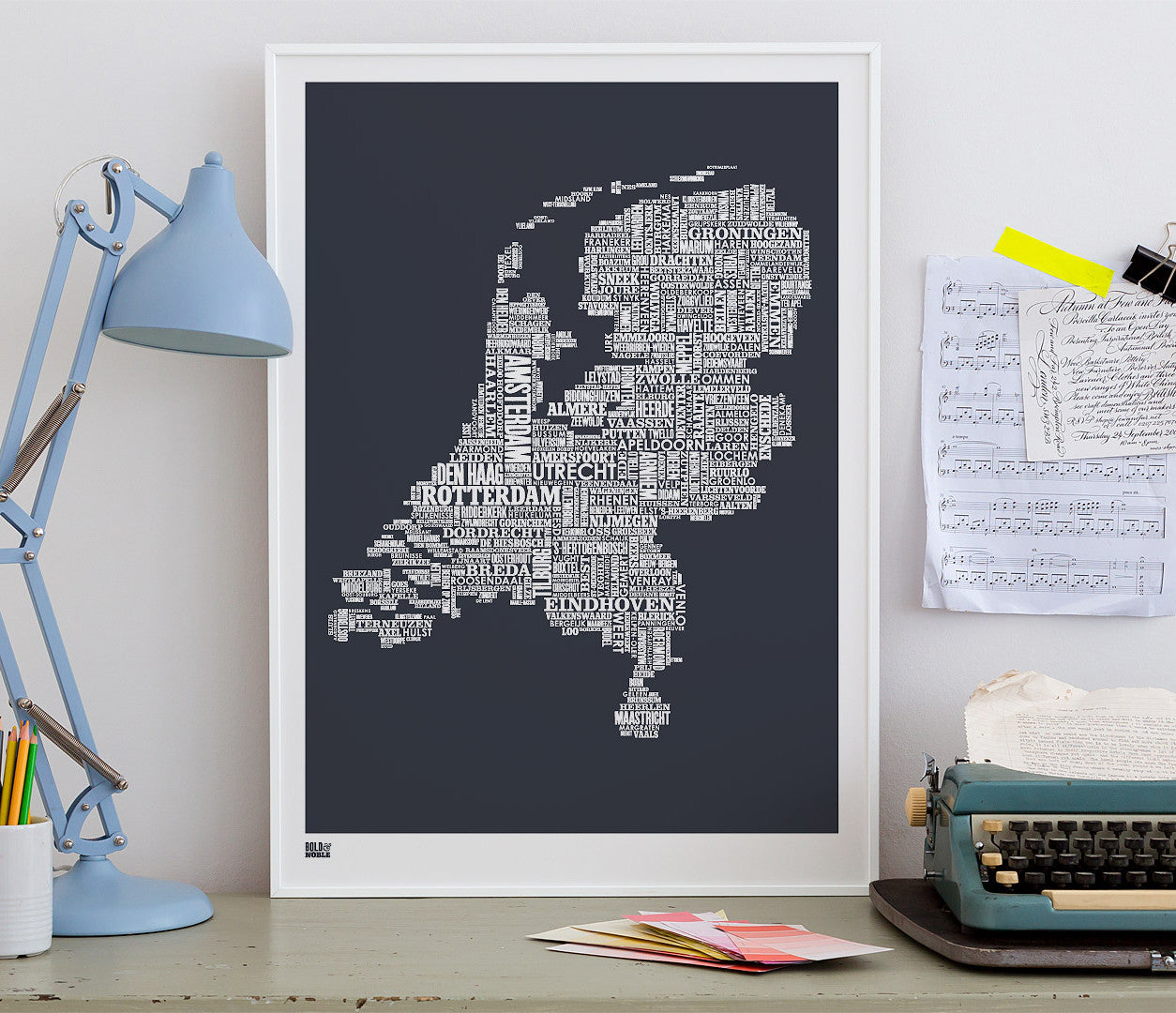 'Netherlands' Type Map Print in Sheer Slate