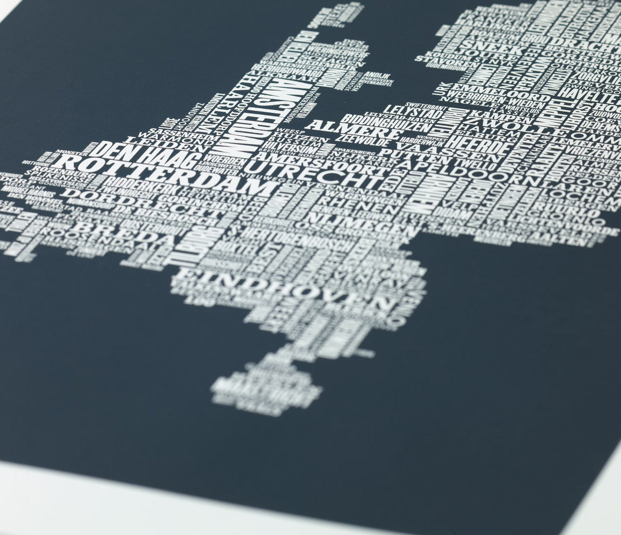 Close Up of Netherlands Type Map Print in sheer slate