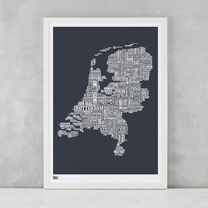 Netherlands Type Map in Sheer Slate, screen printed on recycled card, delivered worldwide