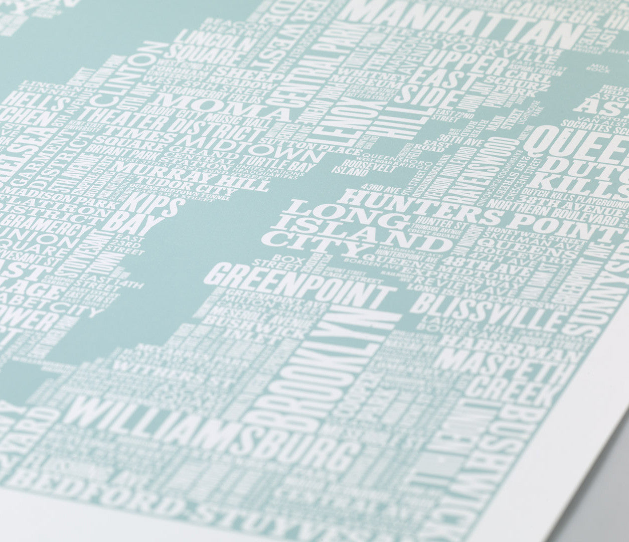 Close up of NYC Type Map screen print in duck egg blue