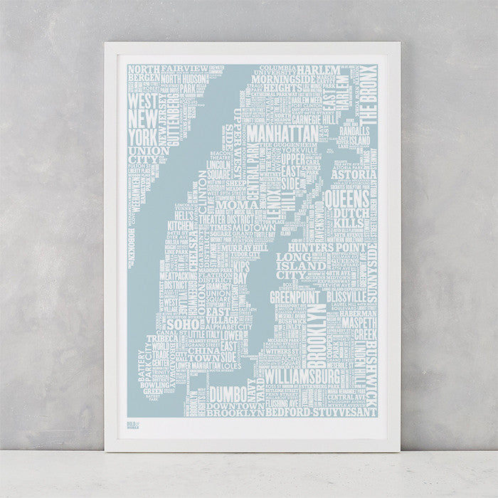 NYC Type Map screen print in duck egg blue, screen printed on recycled card, delivered worldwide