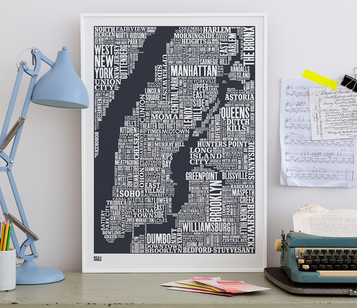 Wall Art ideas: Economical Screen Prints, NYC Type Map Screen Print in Sheer Slate