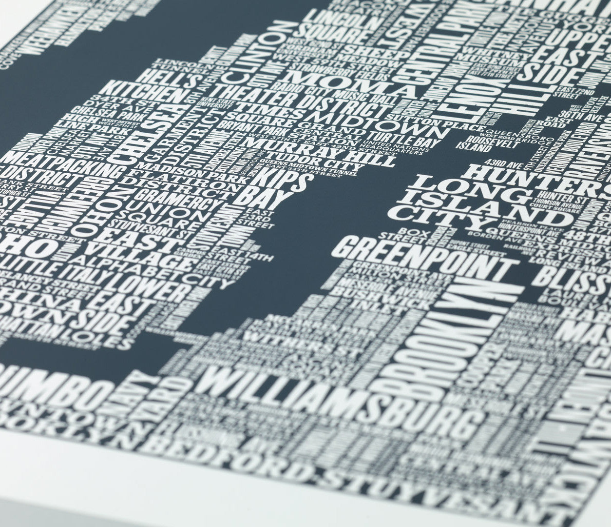 Close up of NYC Type Map screen print in sheer slate