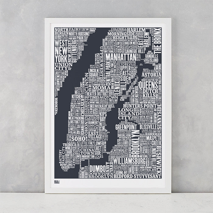 NYC Type Map screen print in sheer slate, screen printed on recycled card, delivered worldwide