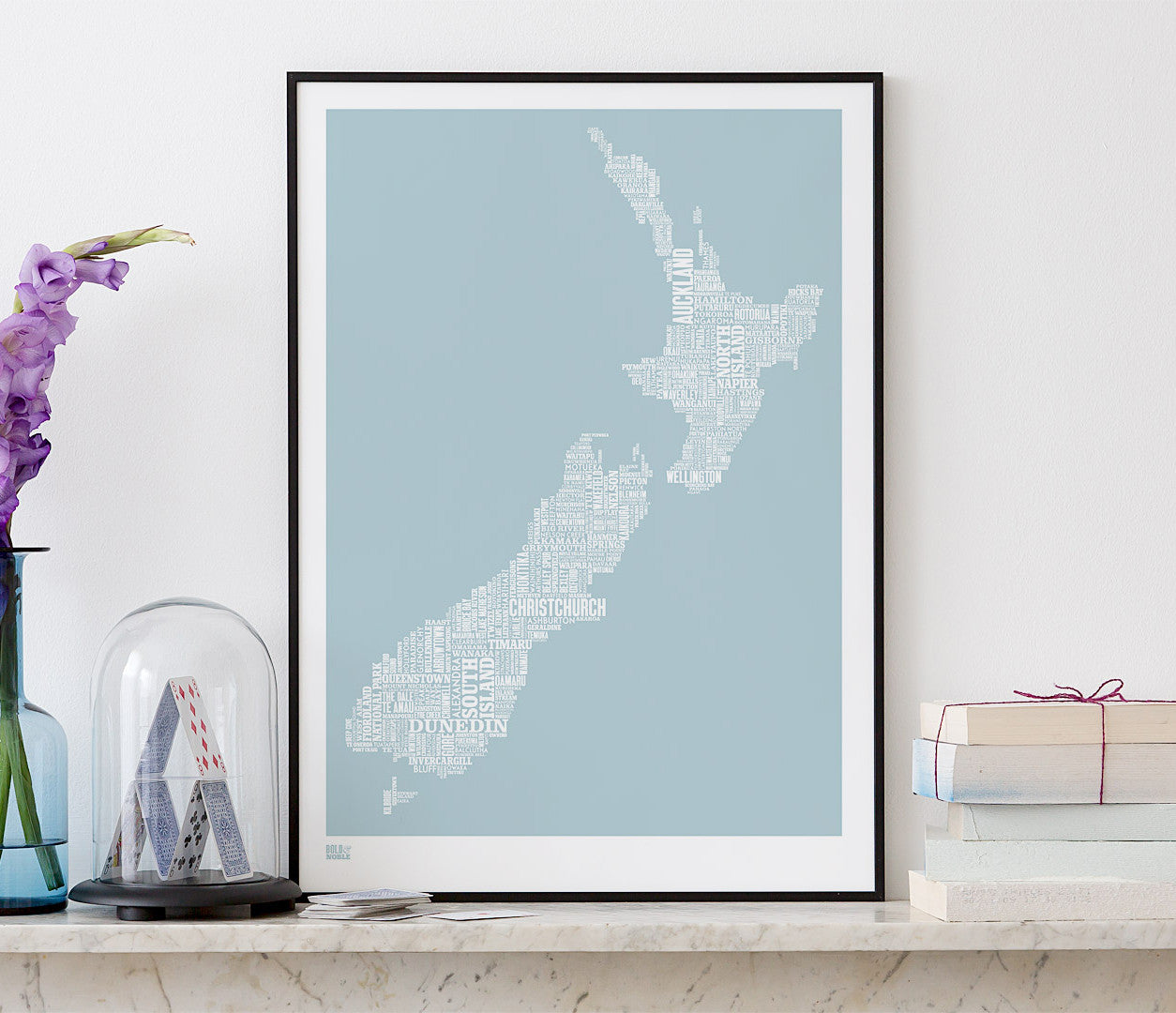 Wall Art ideas: Economical Screen Prints, New Zealand Type Map Screen Print in duck egg blue
