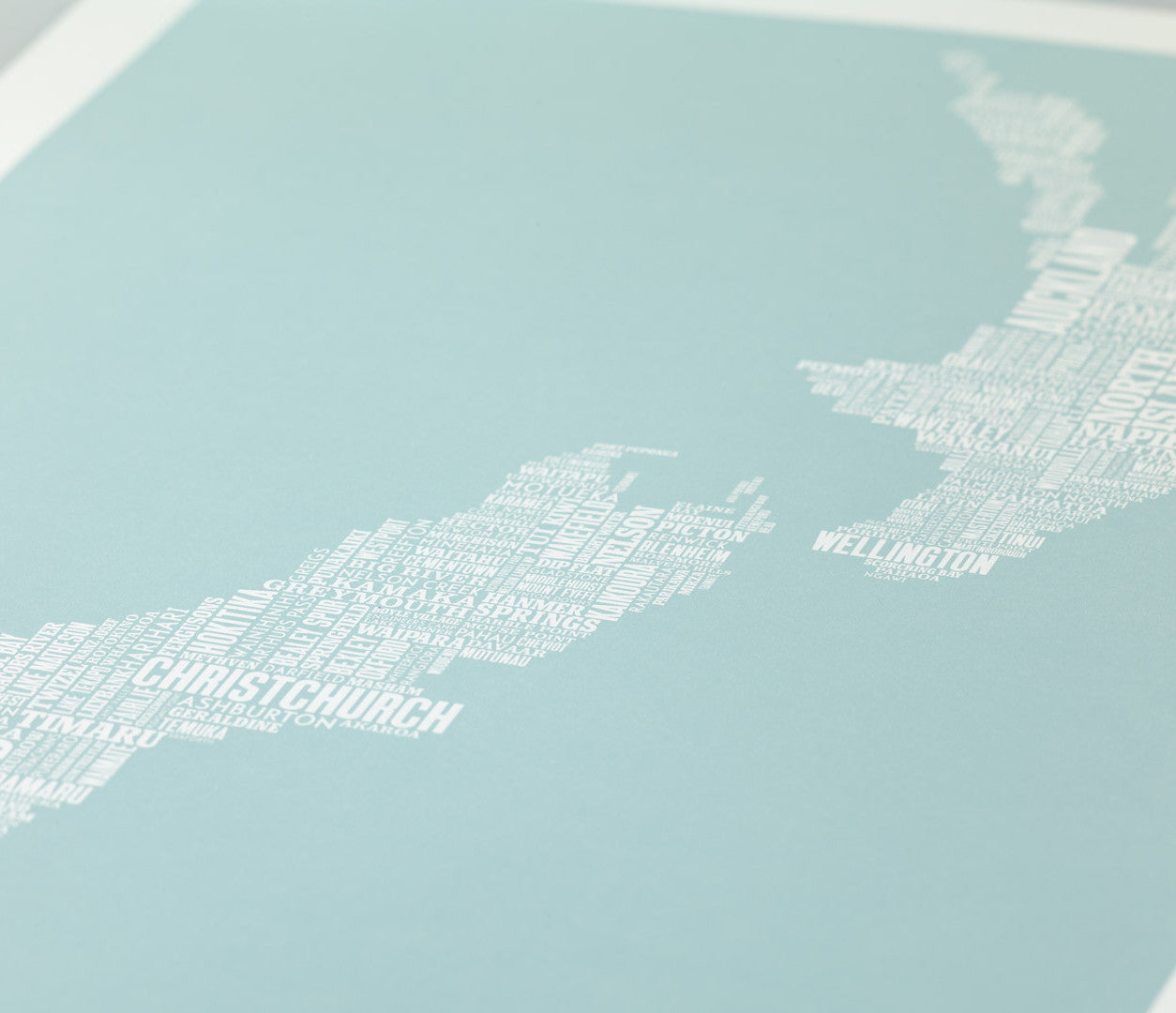 Close Up of New Zealand Type Map Print in Duck Egg Blue
