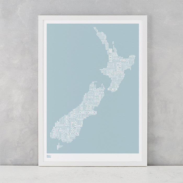 New Zealand Type Map Screen Print in duck egg blue, screen printed on recycled card, deliver worldwide