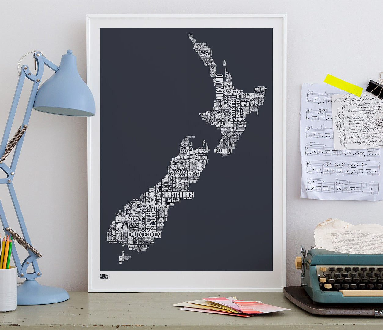 Wall Art ideas: Economical Screen Prints, New Zealand Type Map Screen Print in sheer slate