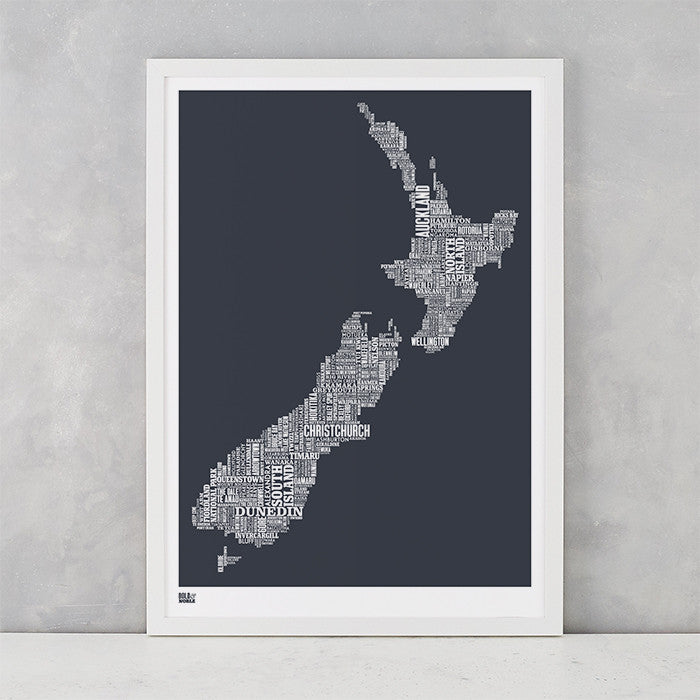 New Zealand Type Map Screen Print in sheer slate, screen printed on recycled card, deliver worldwide