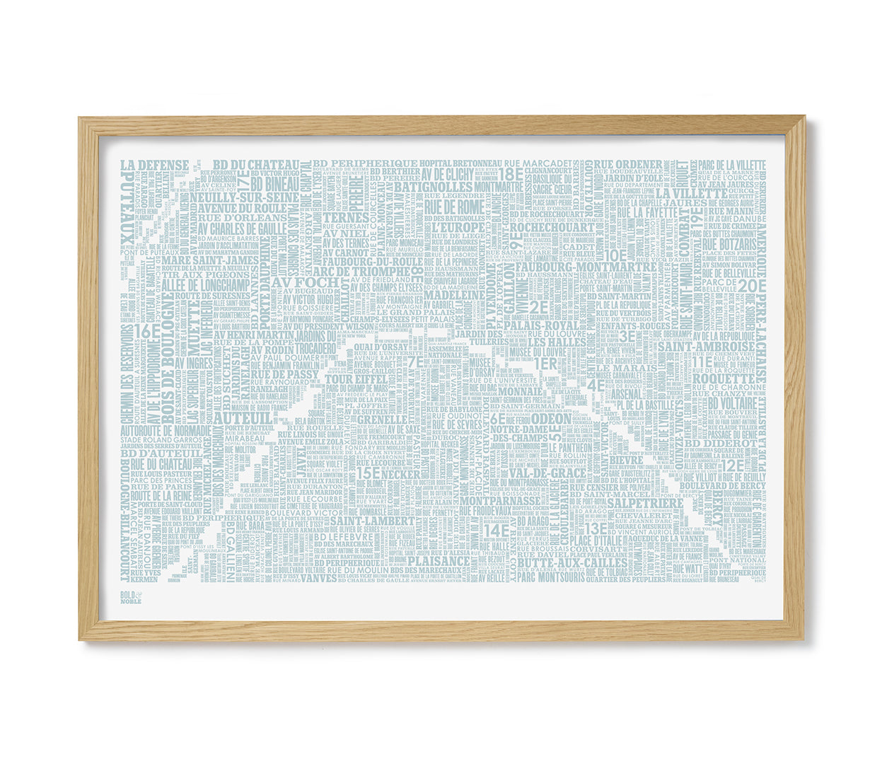 'Paris' Type Map Print in Duck Egg Blue
