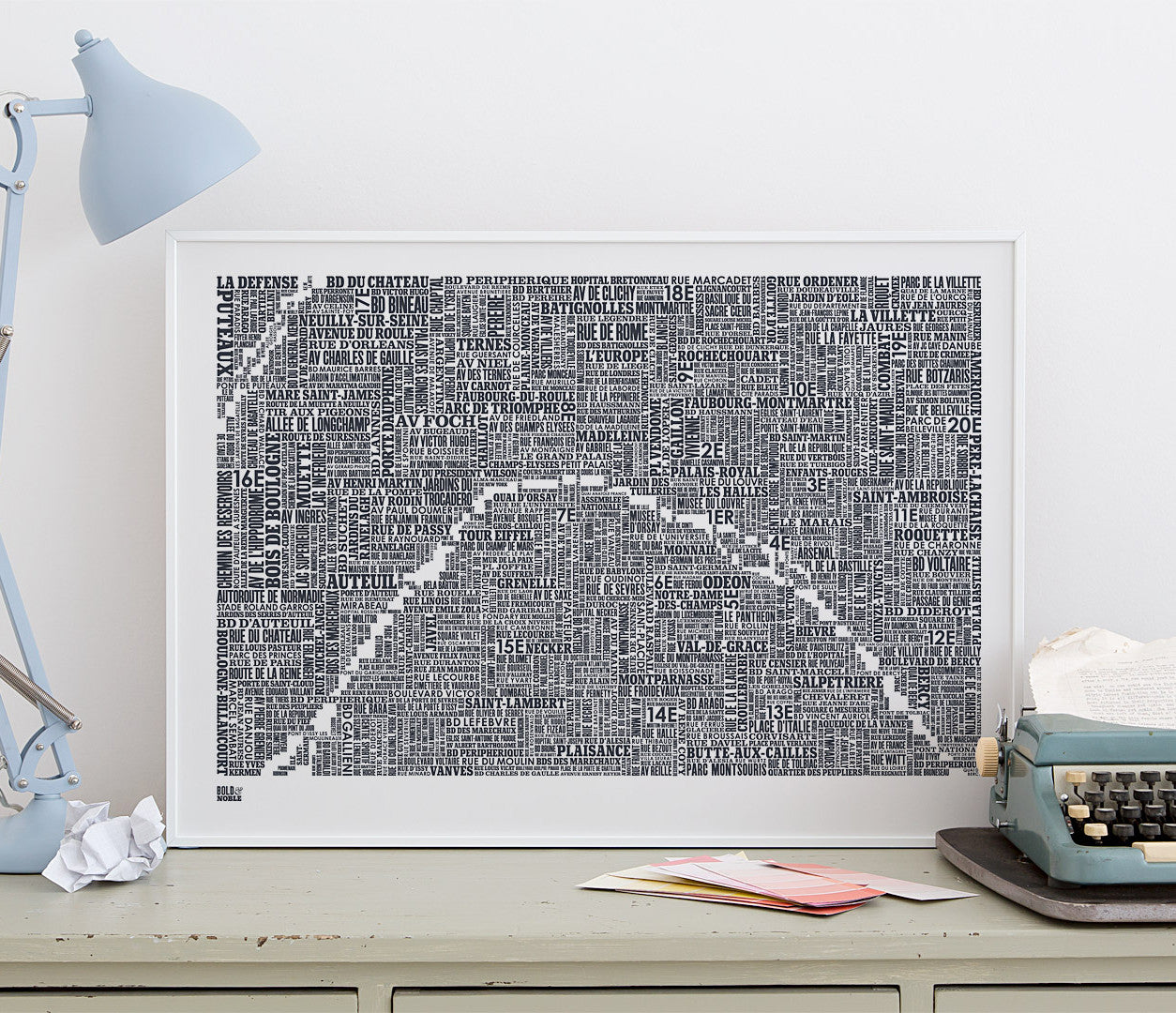 Wordle Map of Paris, place names created with different fonts, fits into standard size frames or can be bespoke framed