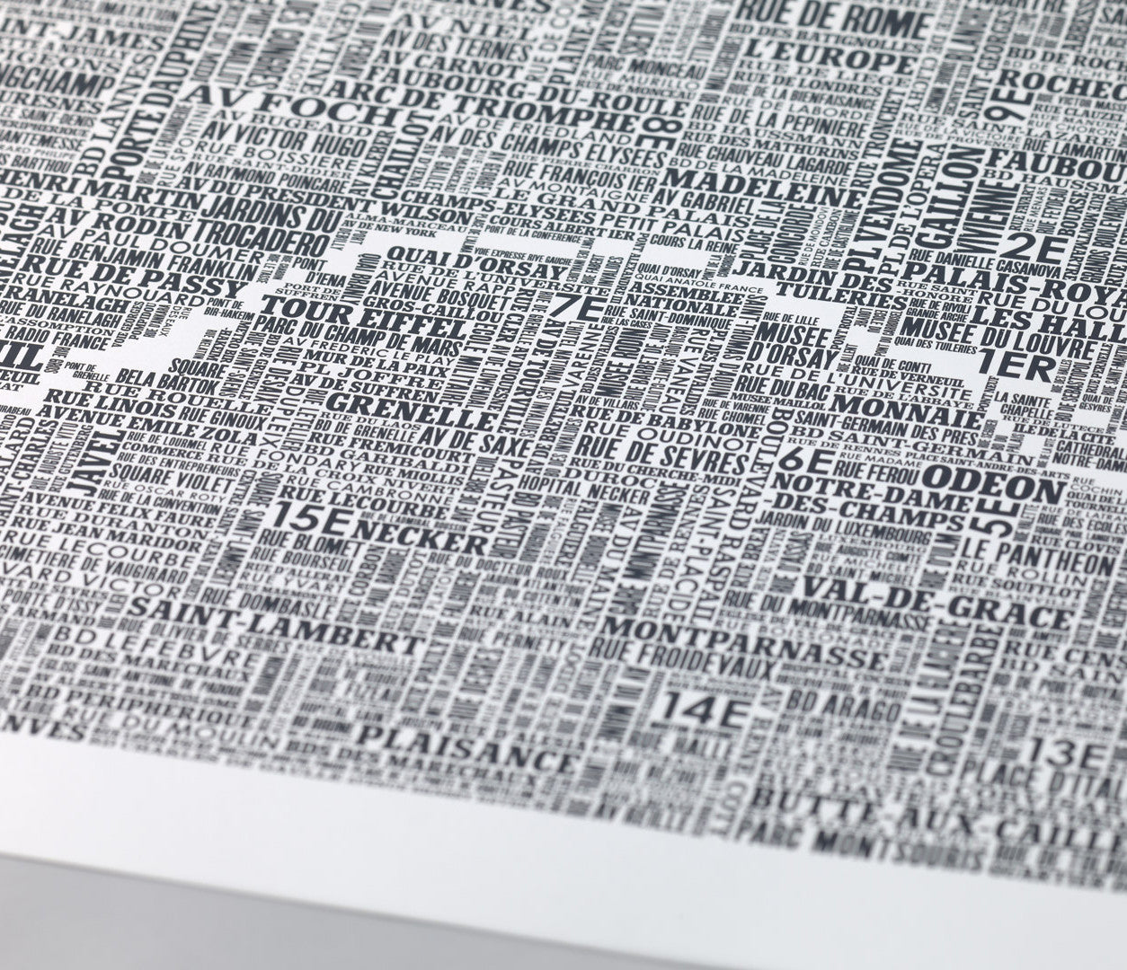 Close up of Wordle Type Map of Paris in Slate Dark Grey