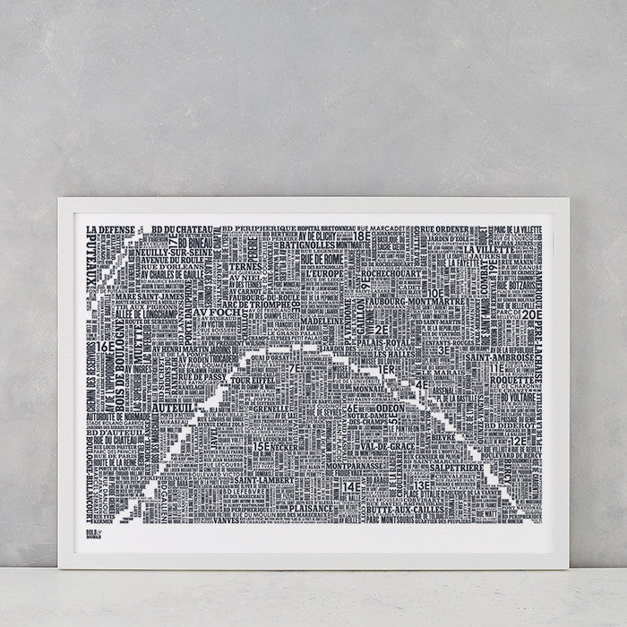 'Paris' Type Map Print in Sheer Slate