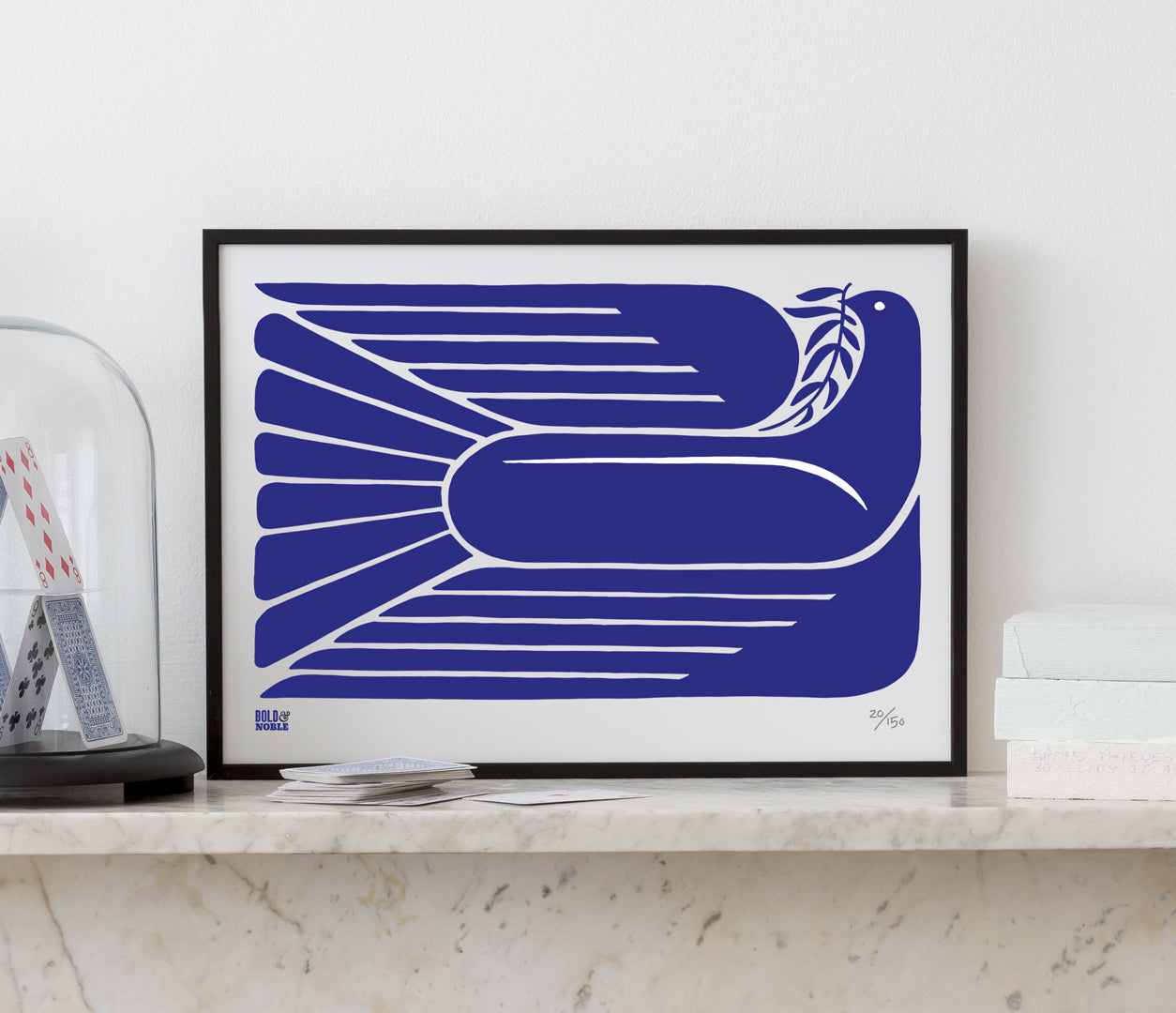 'Peace Dove' Limited Edition Art Print in Reflex Blue