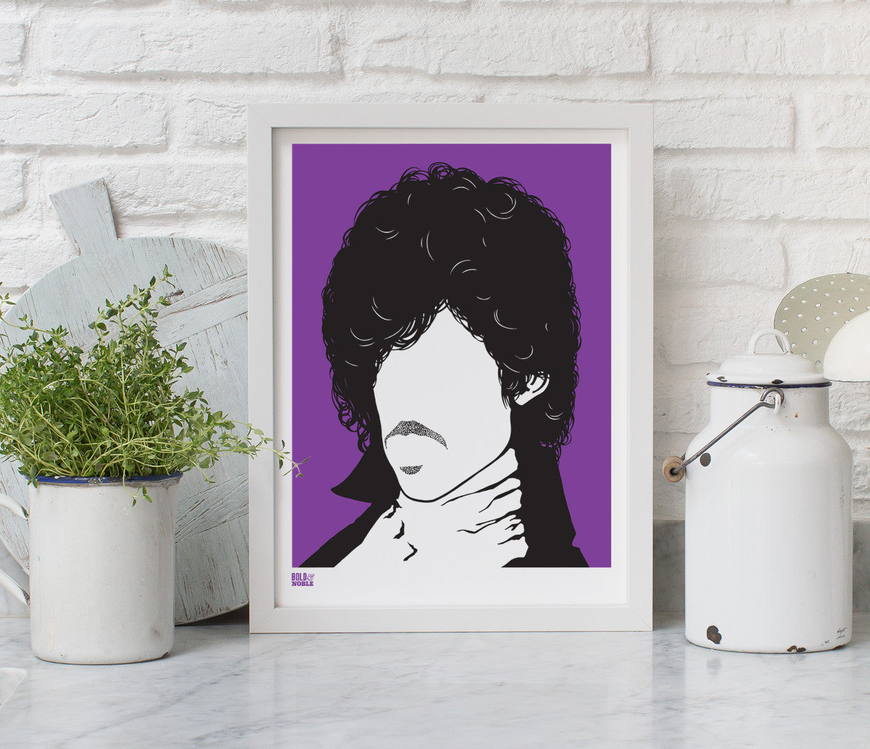 Prince Rock Icon Print in Purple, fits into standard size frame or can be bespoke framed