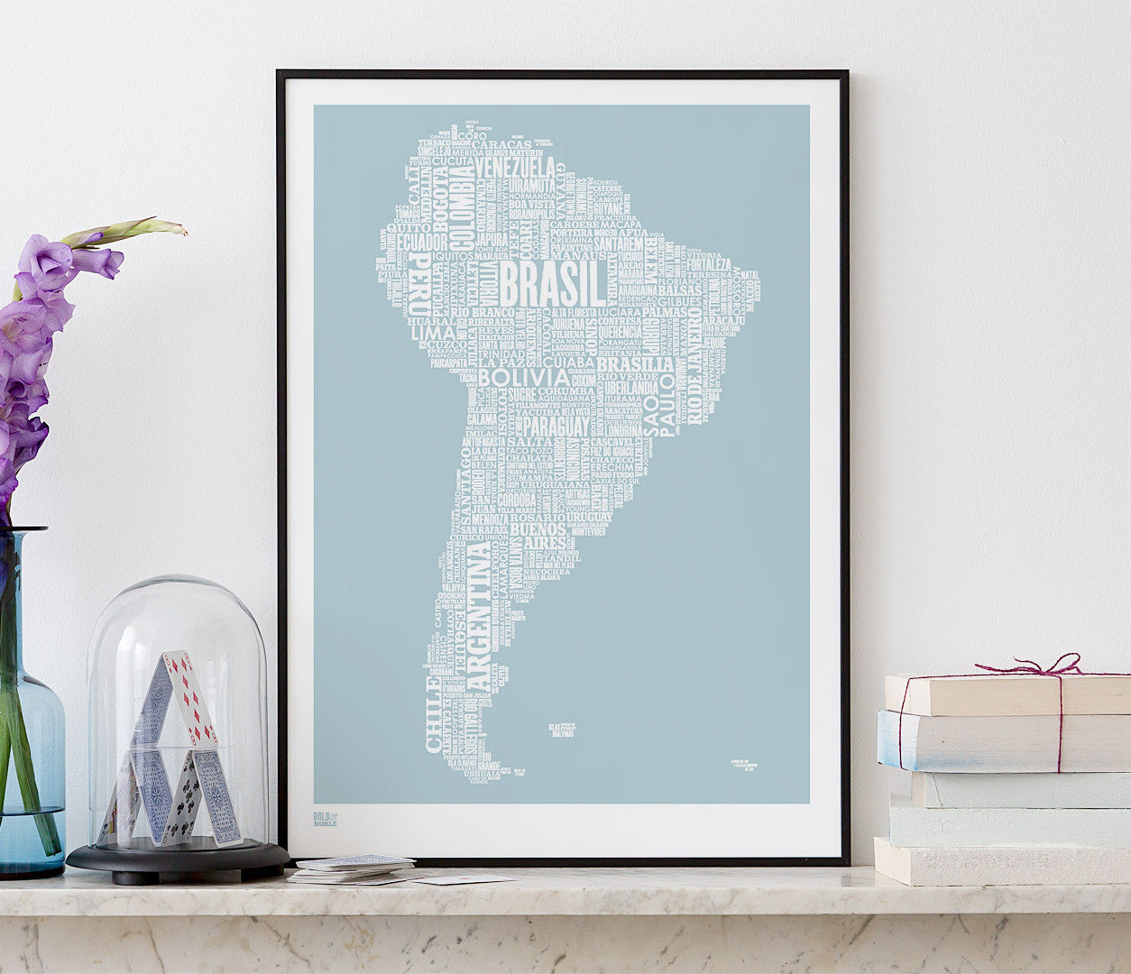 'South America' Type Map Print in Duck Egg Blue