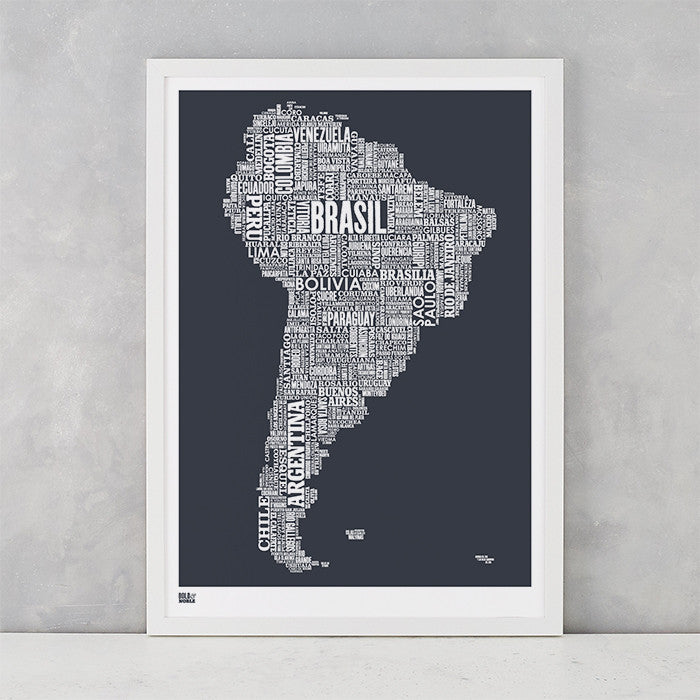 'South America' Type Map Print in Sheer Slate