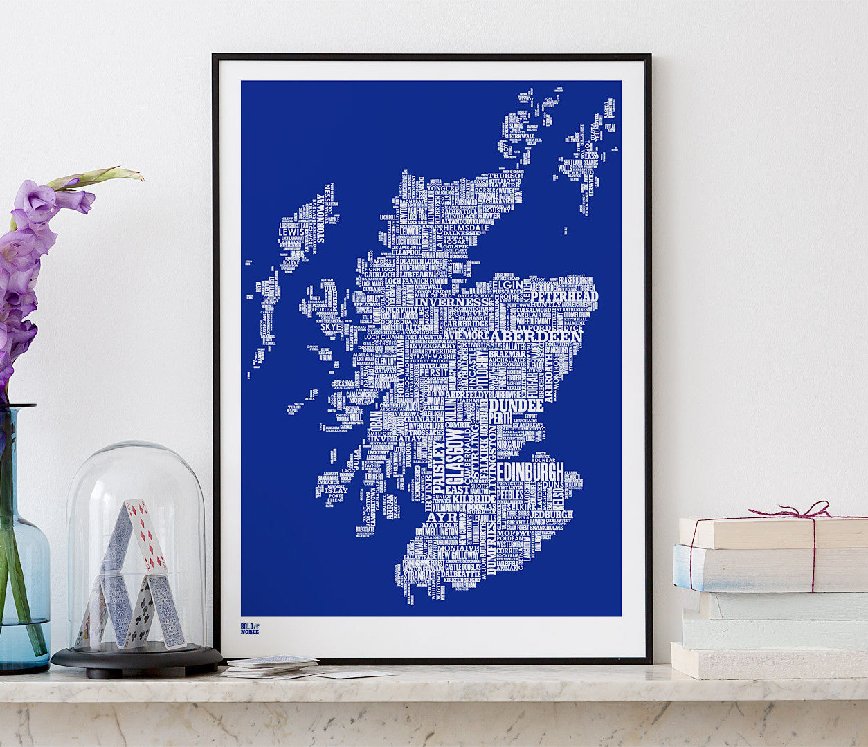 Wordle Scotland Map Wall Art Print, Screen Printed Poster in Blue