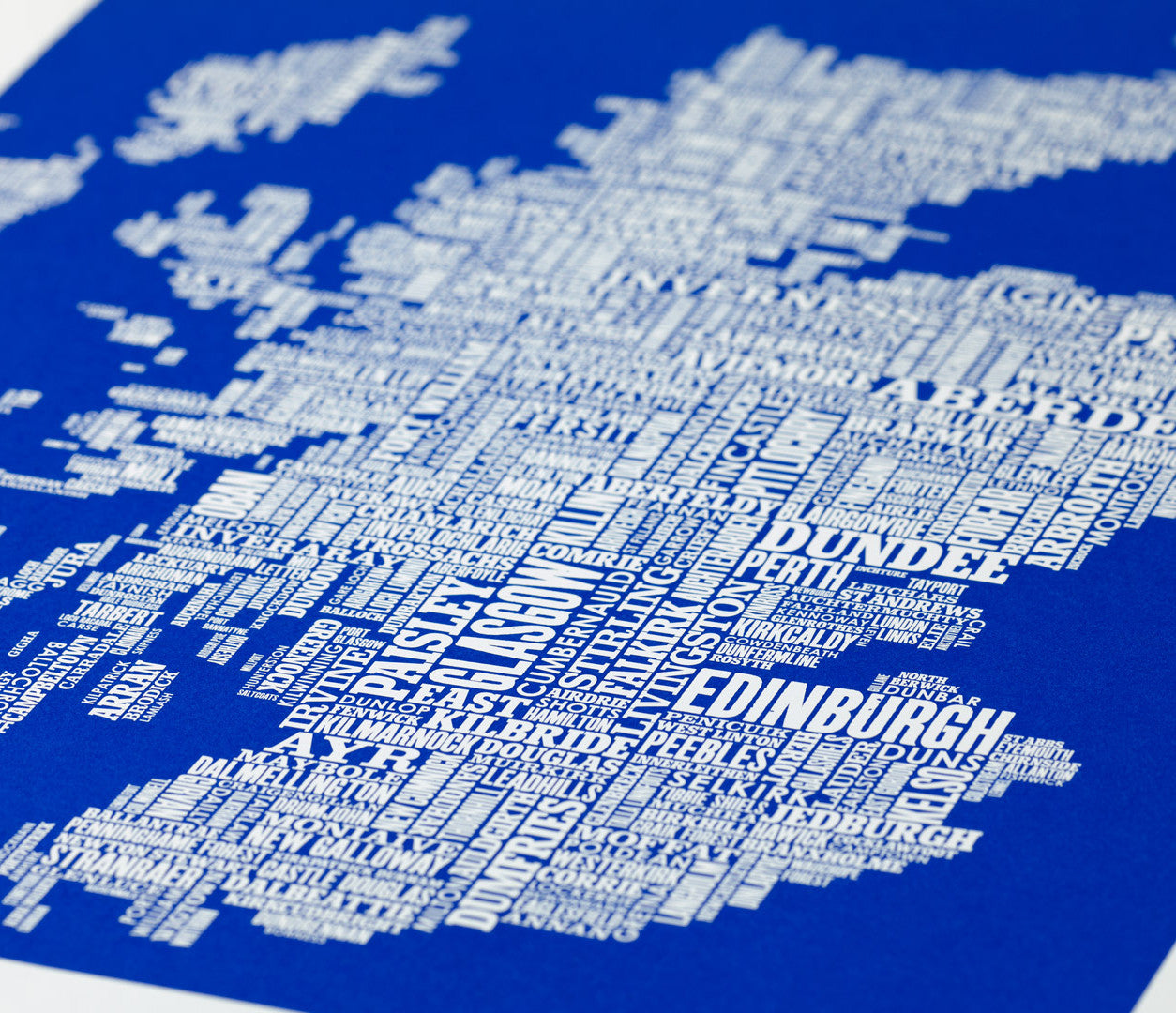 Close up of Scotland Type Map in Blue