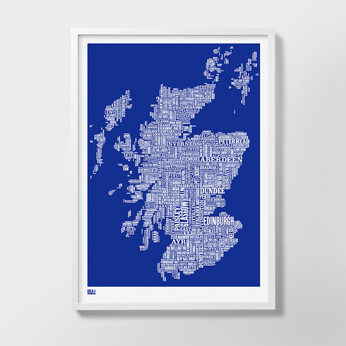 Wordle Map of Scotland , place names created with different fonts, fits into standard size frames or can be bespoke framed