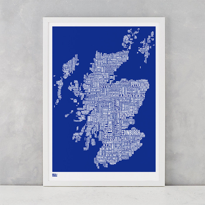Scotland Type Map Print, Screen Printed in the UK, deliver worldwide