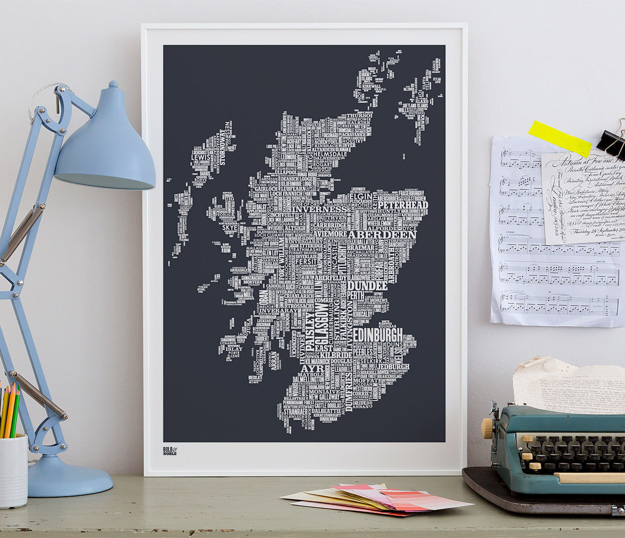 'Scotland' Type Map Print in Sheer Slate