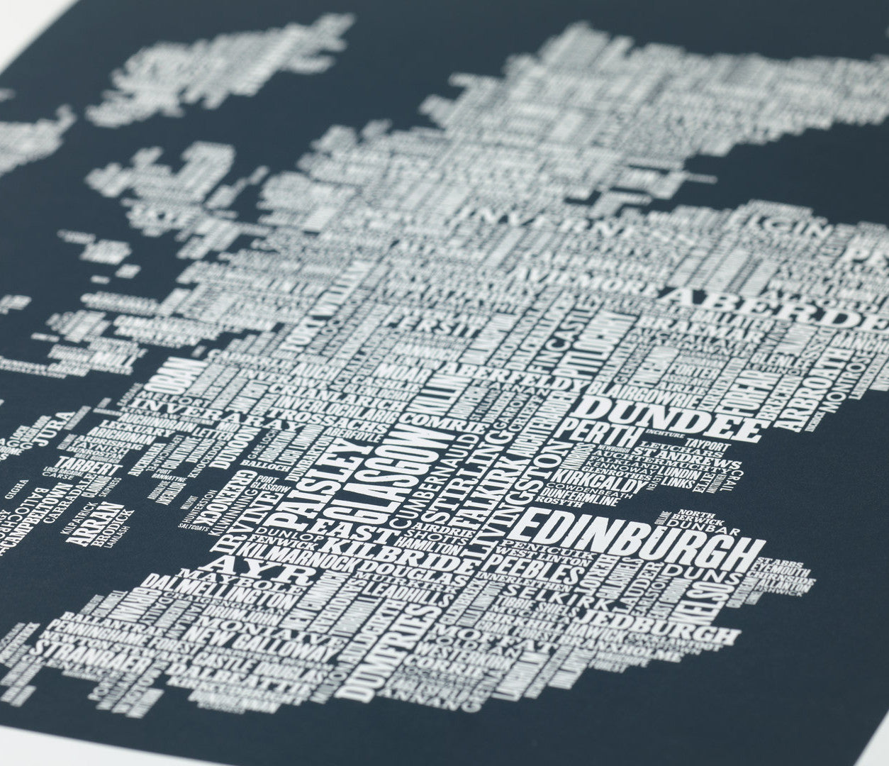 Close up of Scotland Type Map in Dark Grey